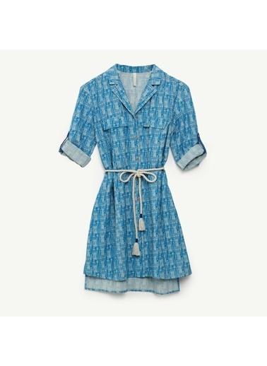 Yargıcı A Form Gömlek Elbise Mavi